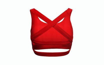 Красный топ Elegant модель сзади