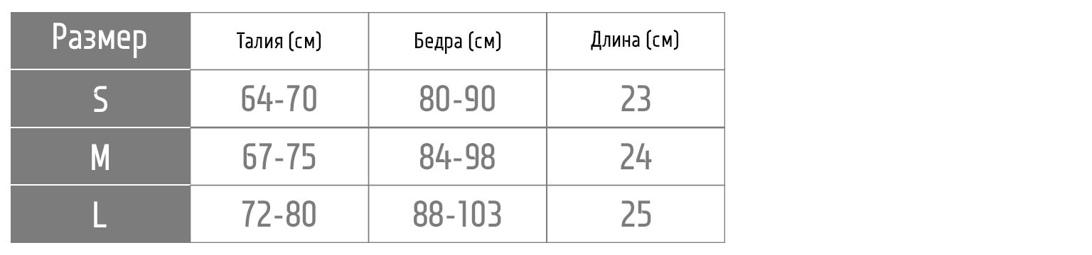 Таблица размеров шорт short14