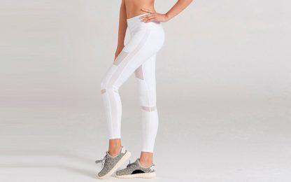 Белые легинсы для йоги 1FP1014WHT фото сбоку