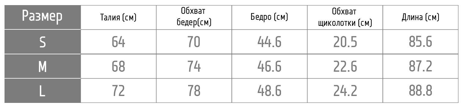Таблица размеров леггинсов 1fp1001