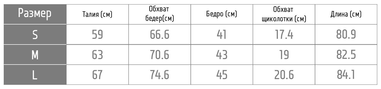 Таблица размеров лосин 1FP1014