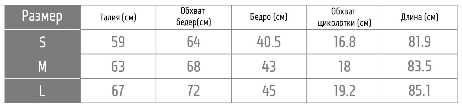 таблица размеров лосин 1FP600