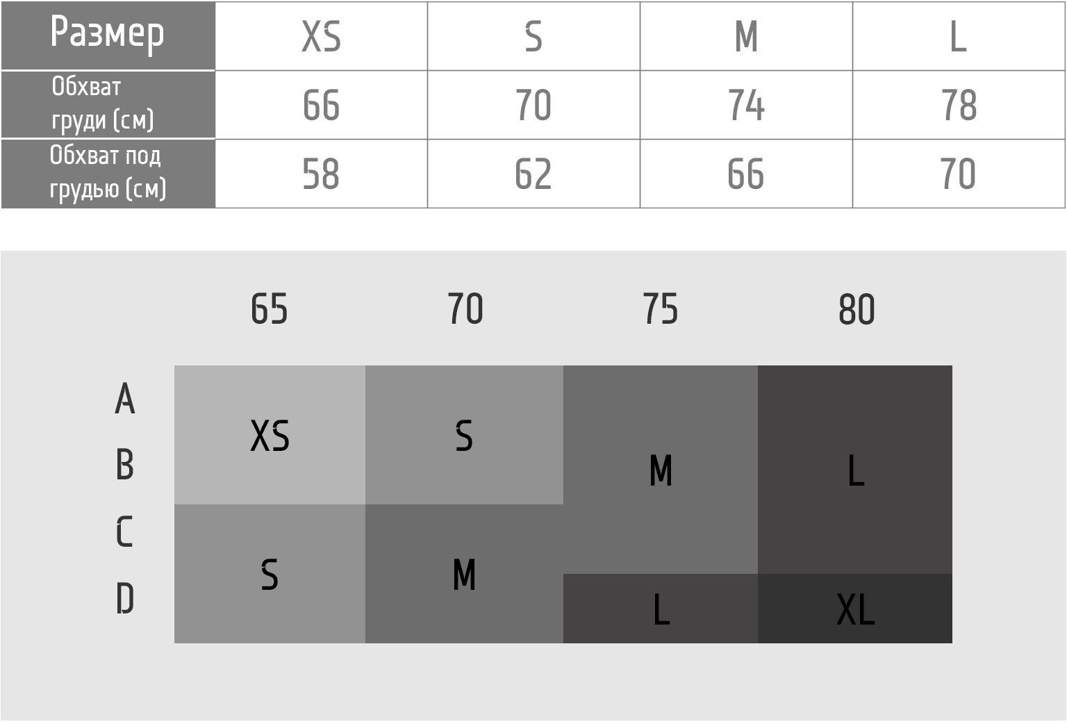 Таблица размеров Белый топ-бра 1FT1070WHT