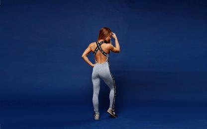 Серый комбинезон Fitness Gray сзади